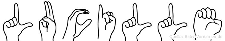Lucille im Fingeralphabet der Deutschen Gebärdensprache