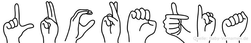Lucretia im Fingeralphabet der Deutschen Gebärdensprache