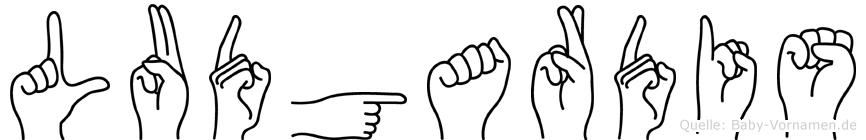 Ludgardis im Fingeralphabet der Deutschen Gebärdensprache