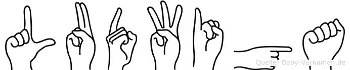 Ludwiga im Fingeralphabet der Deutschen Gebärdensprache