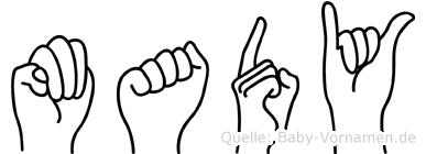 Mady im Fingeralphabet der Deutschen Gebärdensprache