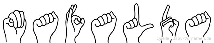 Mafalda im Fingeralphabet der Deutschen Gebärdensprache