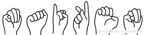 Maiken im Fingeralphabet der Deutschen Gebärdensprache