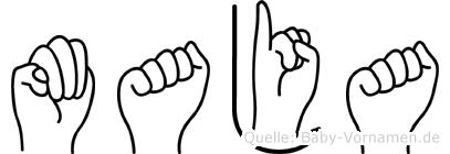 Maja im Fingeralphabet der Deutschen Gebärdensprache