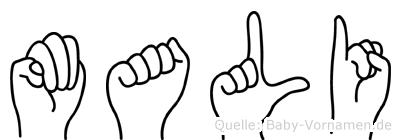 Mali im Fingeralphabet der Deutschen Gebärdensprache