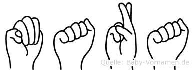 Mara im Fingeralphabet der Deutschen Gebärdensprache