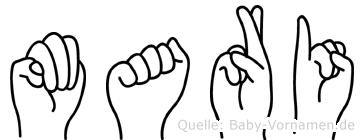 Mari im Fingeralphabet der Deutschen Gebärdensprache