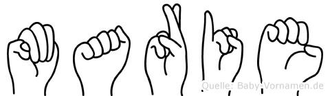 Marie im Fingeralphabet der Deutschen Gebärdensprache