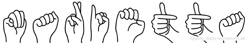 Marietta im Fingeralphabet der Deutschen Gebärdensprache