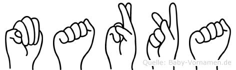 Marka im Fingeralphabet der Deutschen Gebärdensprache