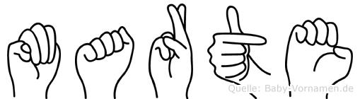 Marte im Fingeralphabet der Deutschen Gebärdensprache