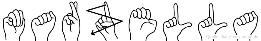 Marzella im Fingeralphabet der Deutschen Gebärdensprache