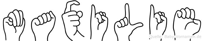 Maxilie im Fingeralphabet der Deutschen Gebärdensprache