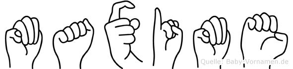 Maxime im Fingeralphabet der Deutschen Gebärdensprache
