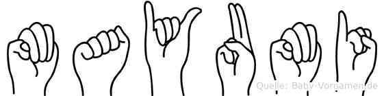 Mayumi im Fingeralphabet der Deutschen Gebärdensprache