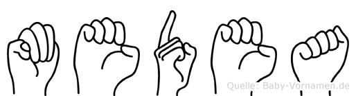 Medea im Fingeralphabet der Deutschen Gebärdensprache