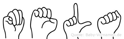 Mela im Fingeralphabet der Deutschen Gebärdensprache