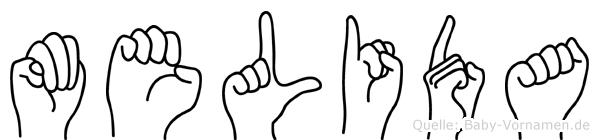 Melida im Fingeralphabet der Deutschen Gebärdensprache