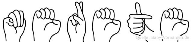 Merete im Fingeralphabet der Deutschen Gebärdensprache