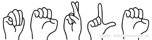 Merle im Fingeralphabet der Deutschen Gebärdensprache