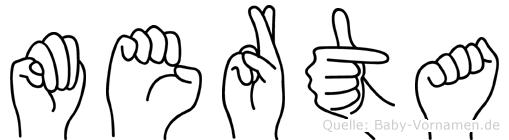 Merta im Fingeralphabet der Deutschen Gebärdensprache