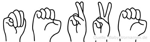 Merve im Fingeralphabet der Deutschen Gebärdensprache
