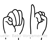 Mi im Fingeralphabet der Deutschen Gebärdensprache