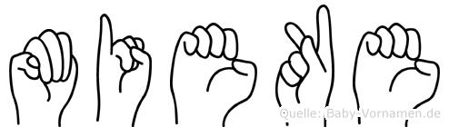 Mieke im Fingeralphabet der Deutschen Gebärdensprache