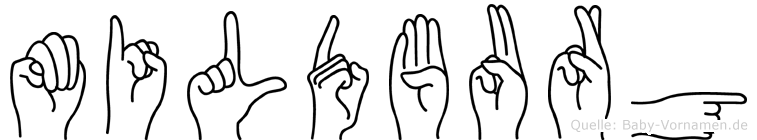 Mildburg im Fingeralphabet der Deutschen Gebärdensprache