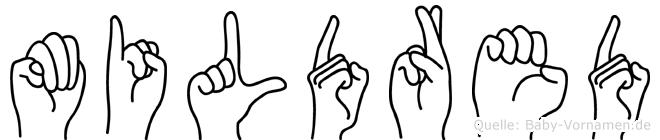 Mildred in Fingersprache für Gehörlose
