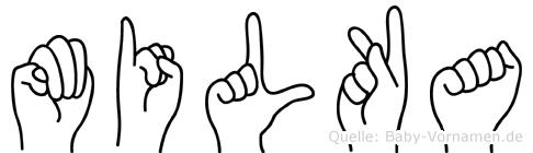 Milka im Fingeralphabet der Deutschen Gebärdensprache