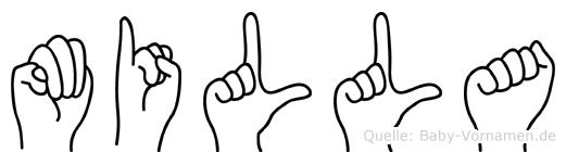 Milla im Fingeralphabet der Deutschen Gebärdensprache