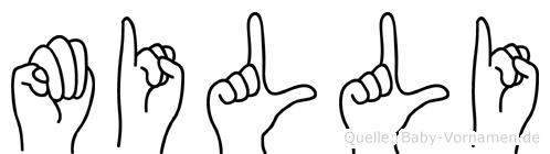 Milli im Fingeralphabet der Deutschen Gebärdensprache