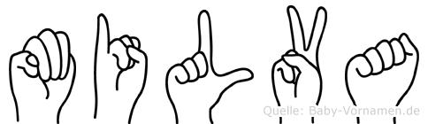 Milva im Fingeralphabet der Deutschen Gebärdensprache