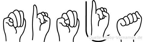 Minja im Fingeralphabet der Deutschen Gebärdensprache