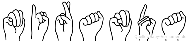 Miranda im Fingeralphabet der Deutschen Gebärdensprache