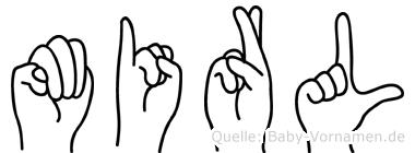 Mirl im Fingeralphabet der Deutschen Gebärdensprache