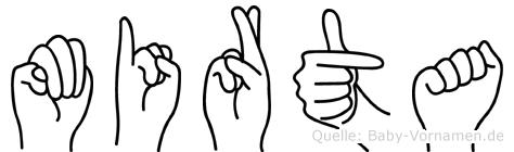 Mirta im Fingeralphabet der Deutschen Gebärdensprache