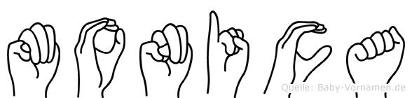 Monica im Fingeralphabet der Deutschen Gebärdensprache