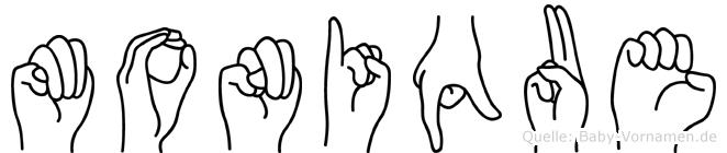 Monique im Fingeralphabet der Deutschen Gebärdensprache