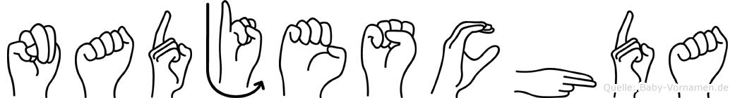 Nadjeschda im Fingeralphabet der Deutschen Gebärdensprache