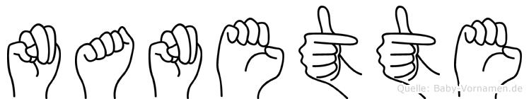 Nanette im Fingeralphabet der Deutschen Gebärdensprache