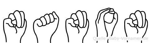 Nanon im Fingeralphabet der Deutschen Gebärdensprache