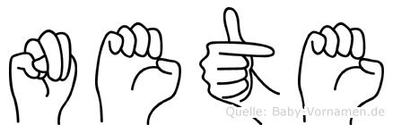 Nete im Fingeralphabet der Deutschen Gebärdensprache