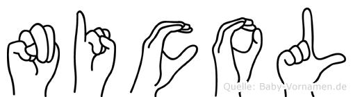 Nicol im Fingeralphabet der Deutschen Gebärdensprache