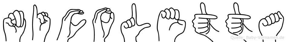 Nicoletta im Fingeralphabet der Deutschen Gebärdensprache
