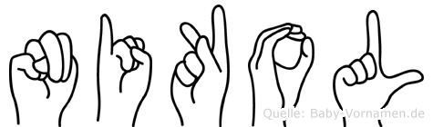 Nikol im Fingeralphabet der Deutschen Gebärdensprache