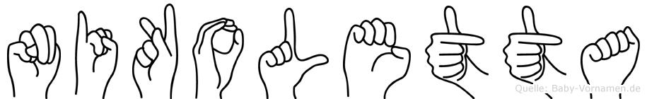 Nikoletta im Fingeralphabet der Deutschen Gebärdensprache