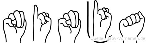 Ninja im Fingeralphabet der Deutschen Gebärdensprache