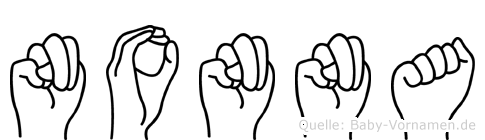 Nonna im Fingeralphabet der Deutschen Gebärdensprache